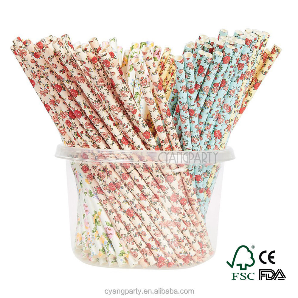 Cyang 25ct Excellent Quality 6x197mm Vintage Trendy Beautiful 100% Biodegradable Paper Straws for All Occasions
