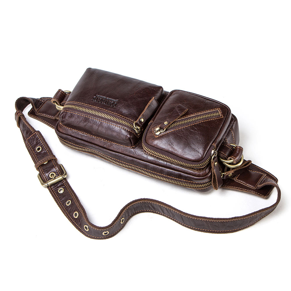 dropshipping contact's Retro Casual genuine leather men cross body waist bag