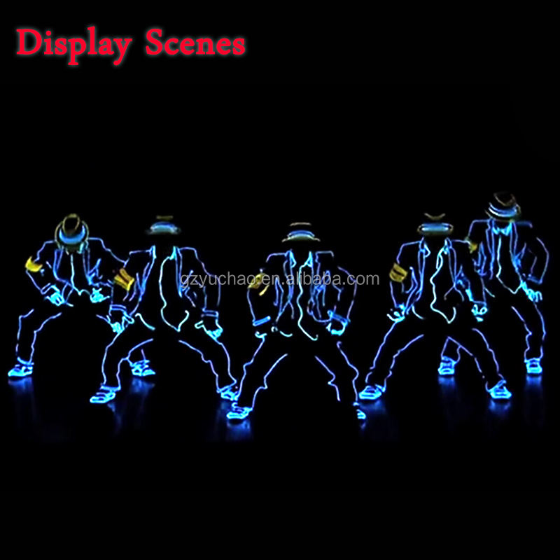 High quality 10 Color Select EL Wire Set Festival Party DIY Clothe Accessories of Men for Holiday Glowing Jazz dance led costume