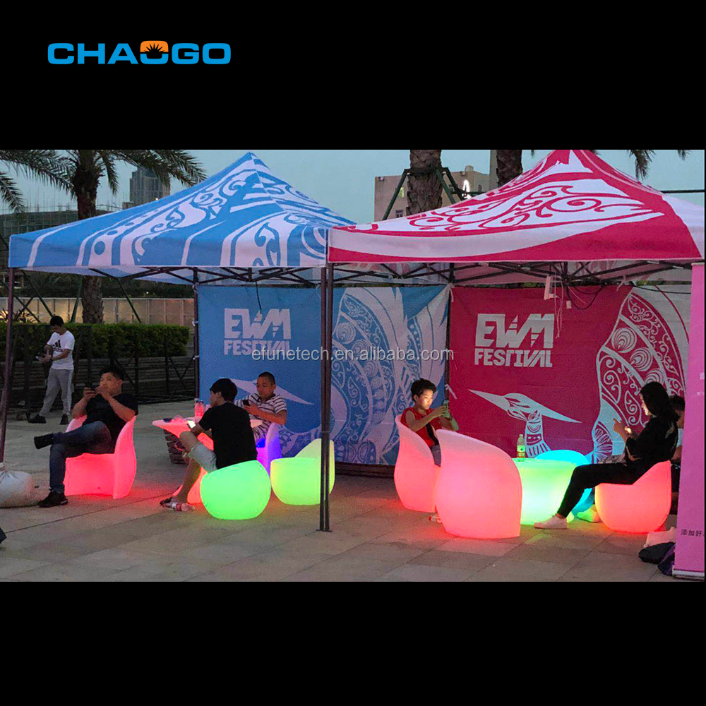portable wedding event party PE plastic glowing light bar chair led led outdoor furniture bar chair table