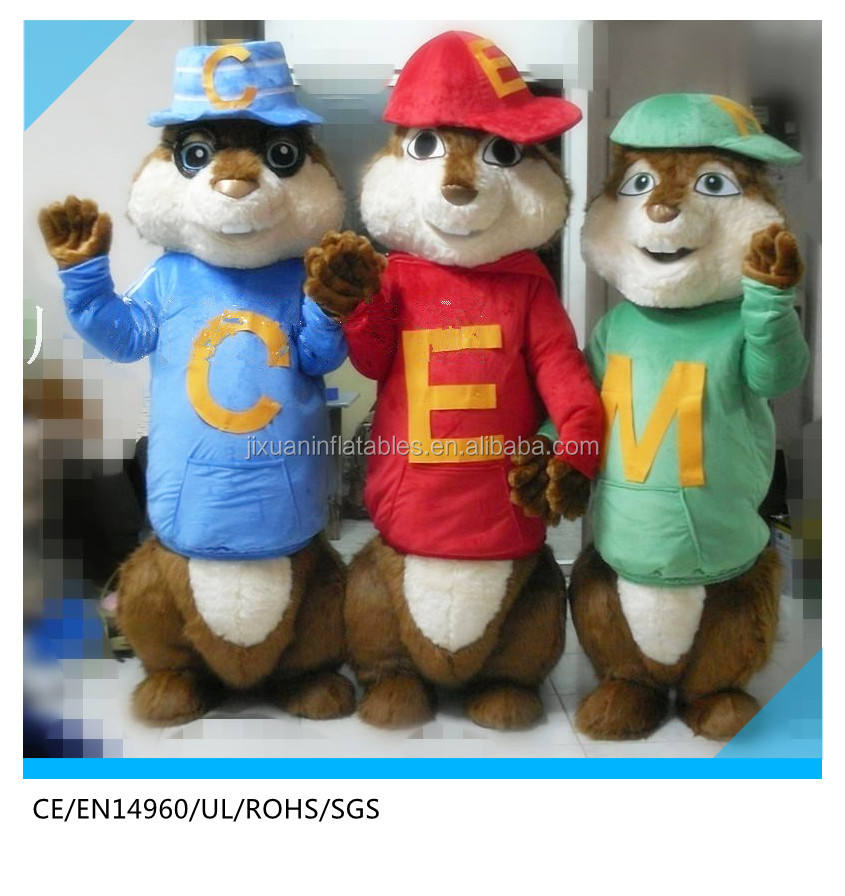 <span class=keywords><strong>Alvin</strong></span> simon theodore chipmunks costume della mascotte