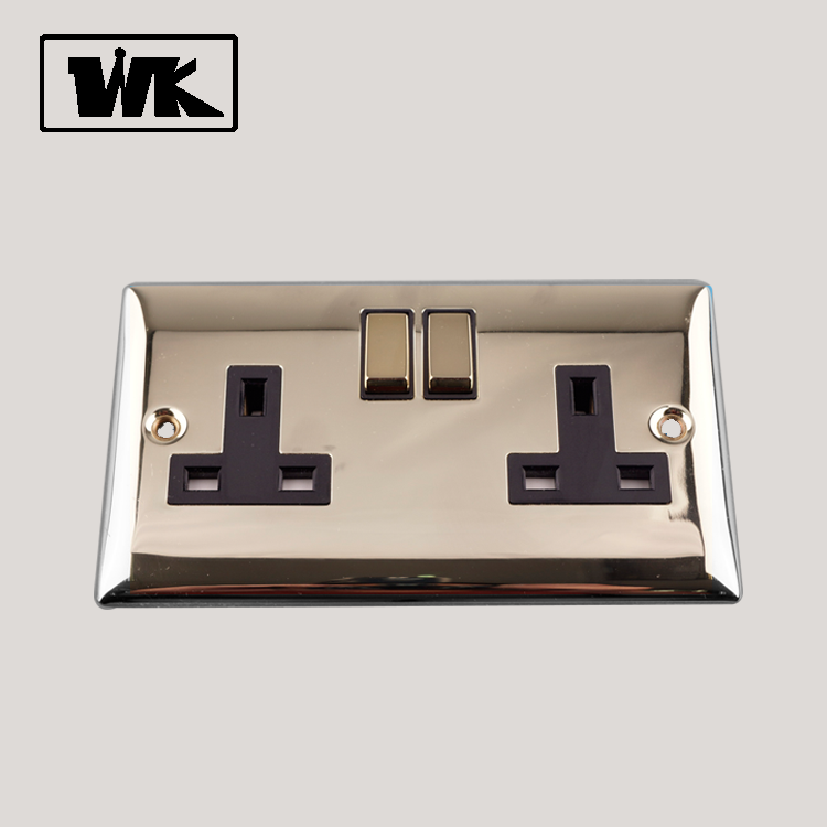 WK 13A 2 UK ไฟฟ้า Outlet Wall Double Switched Socket UK ประเภท Outlet