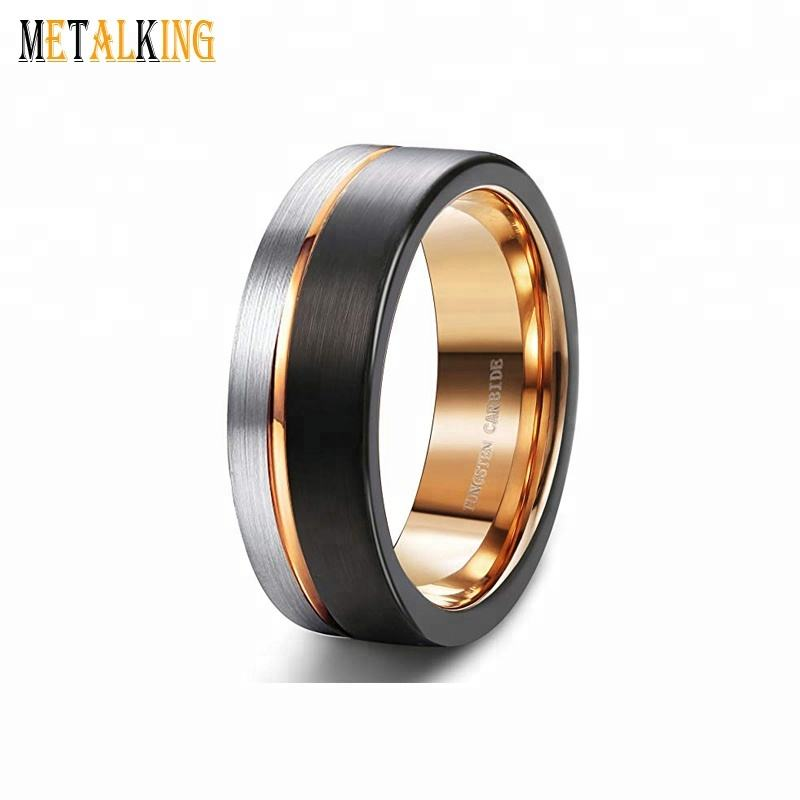 8mm Black and Silver Tungsten Wedding Band Brushed Thin Side Rose Gold Plated Promise Rings Groove Flat Edge Comfort Fit