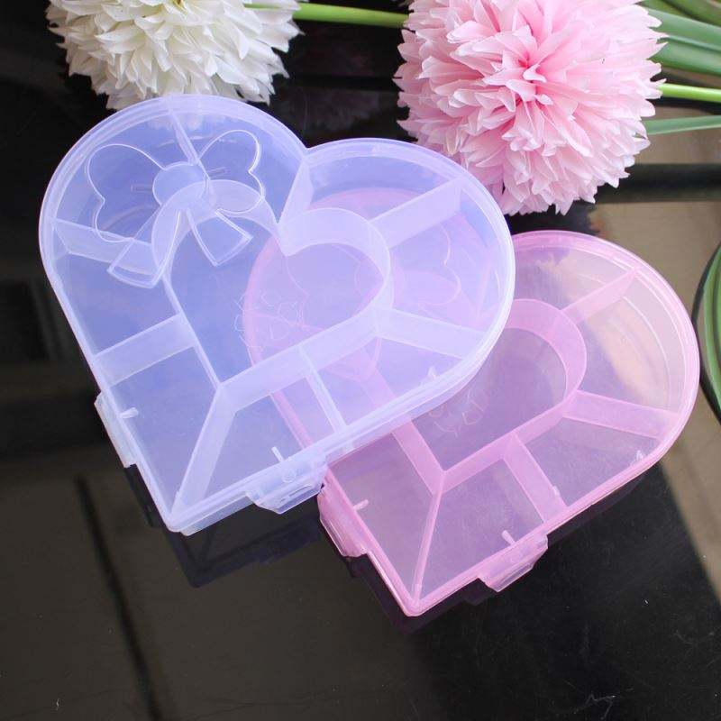 Wholesale 2.5*14*15.5CM Heart Shape Plastic Box For Jewelry Beads Pills Storage With 9 Small Containers Jars