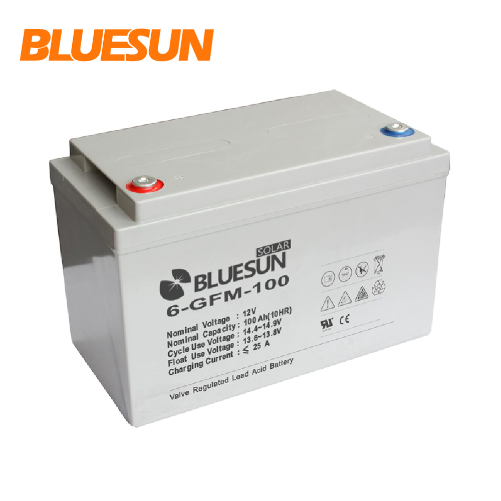 Bluesun 12v 100ah 200ah 250ah lead acid GEL solar power storage battery