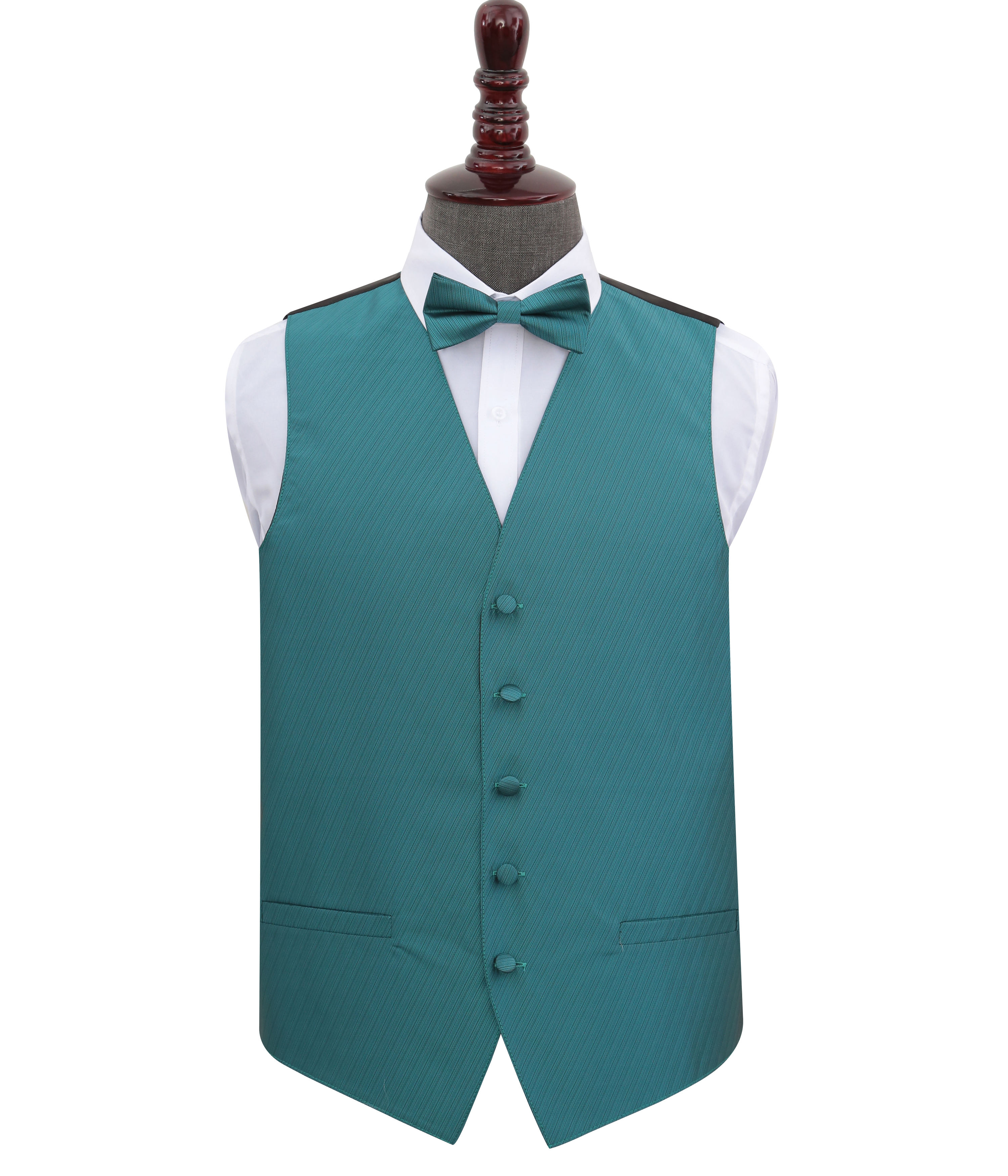 OEM Accept Factory Price Outer Wear Clothing Polyester Blue Satin Bowtie and Waistcoat Set