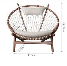 Semi-circular recliner outdoor balcony rope woven casual single sofa chair