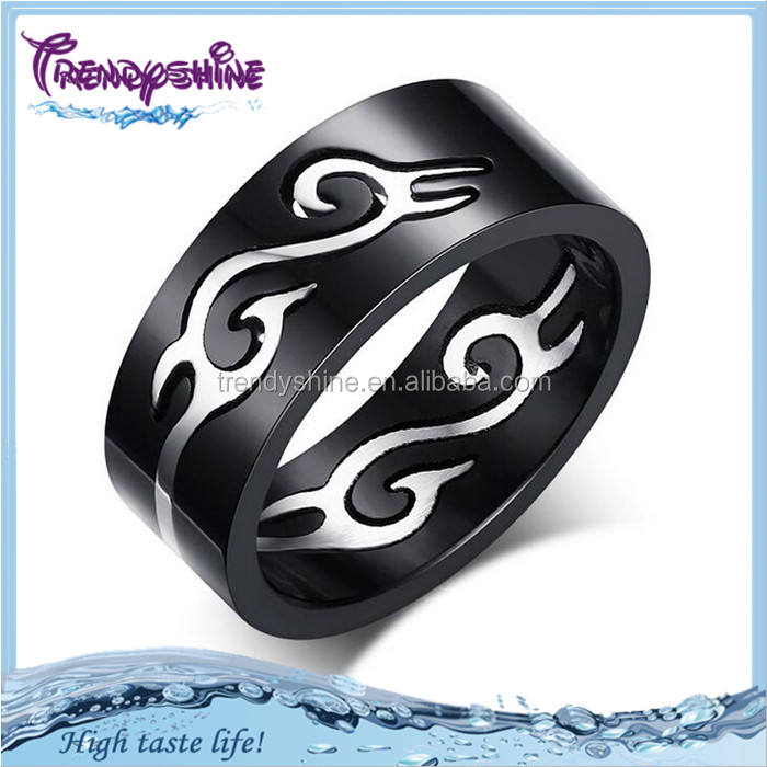 Fashion Jewelry Black Titanium Band 4mm Titanium Ring For Men