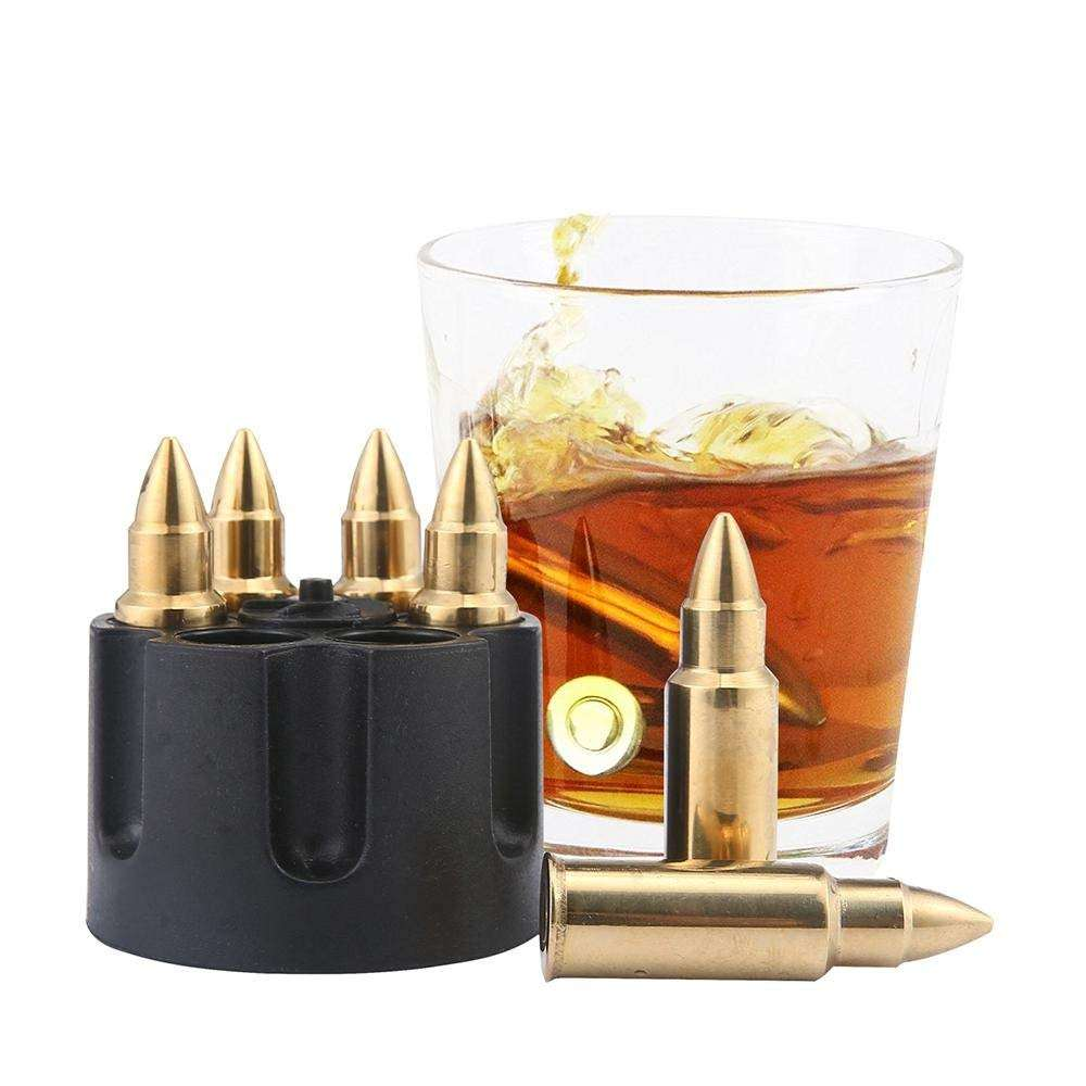 Summertime Drinking Essential Food Grade Stainless Steel Bullet Shape Wine & Beer Glass Chillers Ice Cube Gift Set