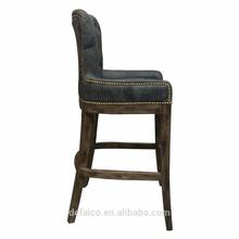 Vintage industrial antique wooden bar stools swivel bar chair PU leather bar stools