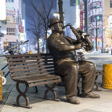 Bronze jazz statue sculpture
