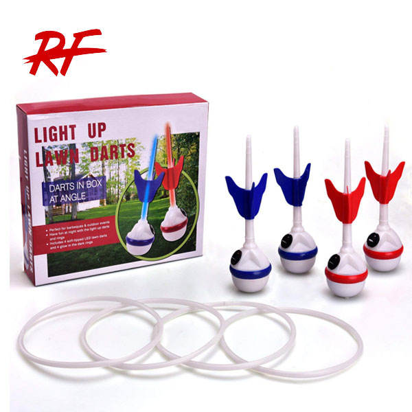 LED ring toss-lawn darts game glow In the dark game set