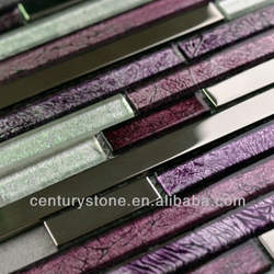 Interlocking Purple White Stainless Steel Mix Gold Foil Glass Style Selections Tile Mosaic