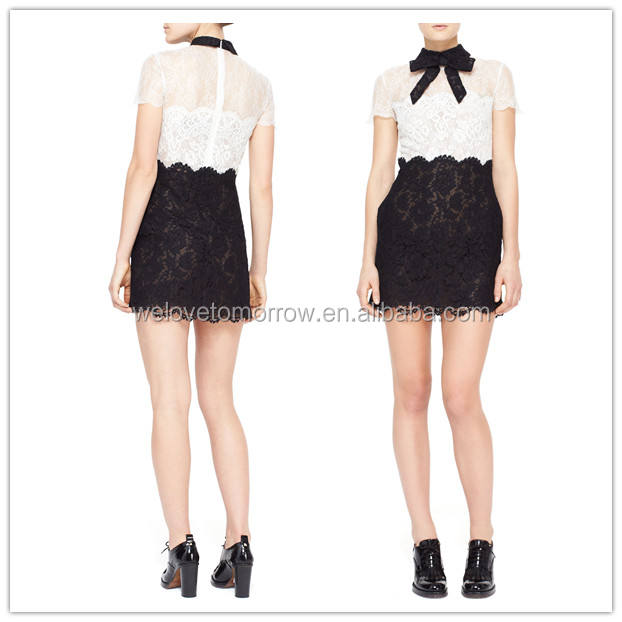 White and black Short-Sleeve Lace Dresses (TW0380D)