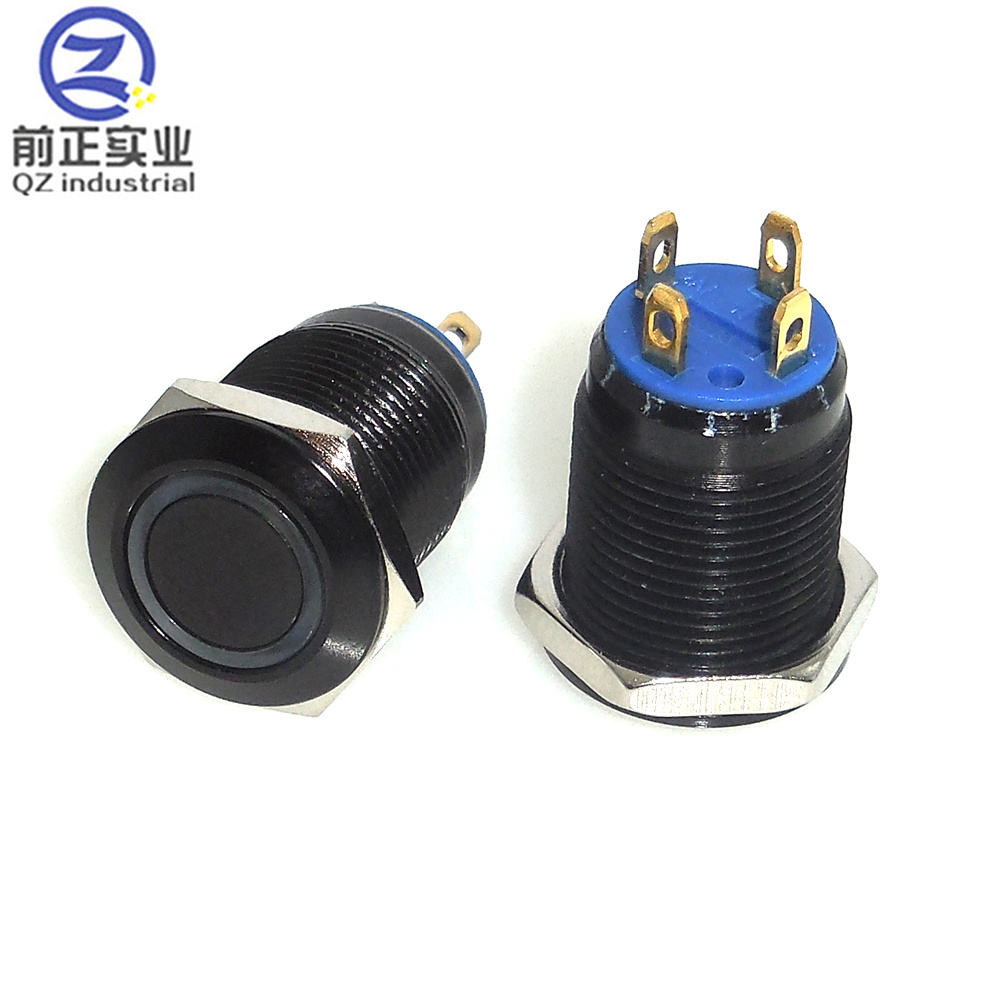 QZ Industrial Flat 12mm momentary 1NO push on with circular LED light metal push button switch Waterproof