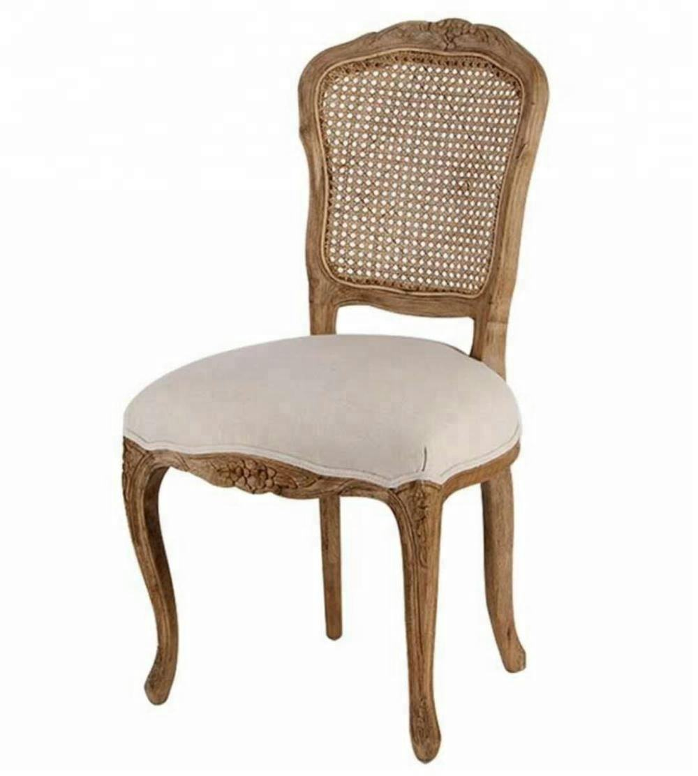 Oak wood carved flower rattan back Louis Chair with Grey/beige linen
