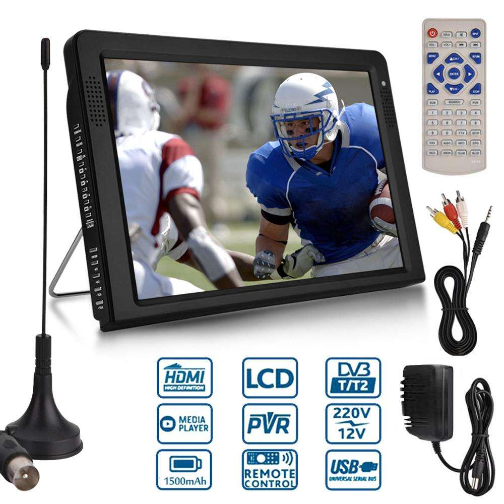 Free Ship Outdoor 10.2 Inch 12V Portable Digital Analog Television DVB-T / DVB-T2 TFT LED HD TV Support TF Card USB Audio Car