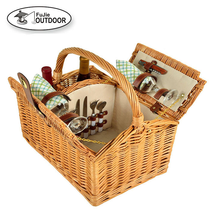 Hot Sale Willow Wicker Wine Picnic Basket For 2 People