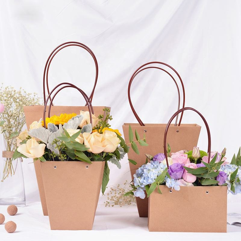 Wholesale waterproof kraft paper Flower Carry Bag