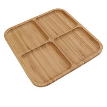 Eco-friendly nuts, appetizer, snack and breakfast bamboo plate square serving platters