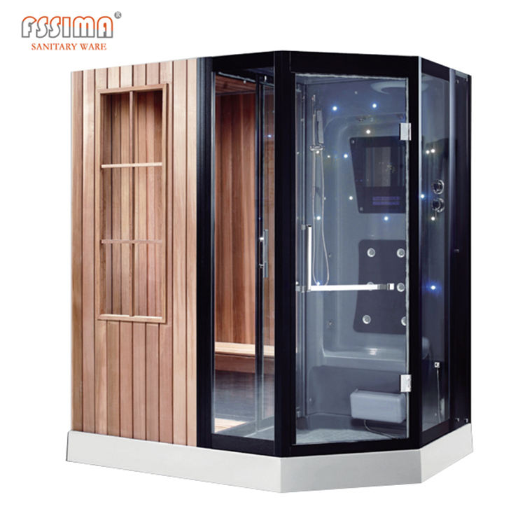 cedar wooden outdoor sauna shower dry and wet sauna room