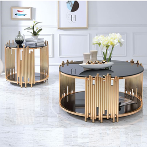 modern design stainless steel living room furniture luxury black glass top gold round coffee table