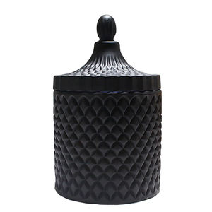 LXHY-T066-1 home decor and wedding use diamond pattern frosted and matt black gel cut glass candle jars