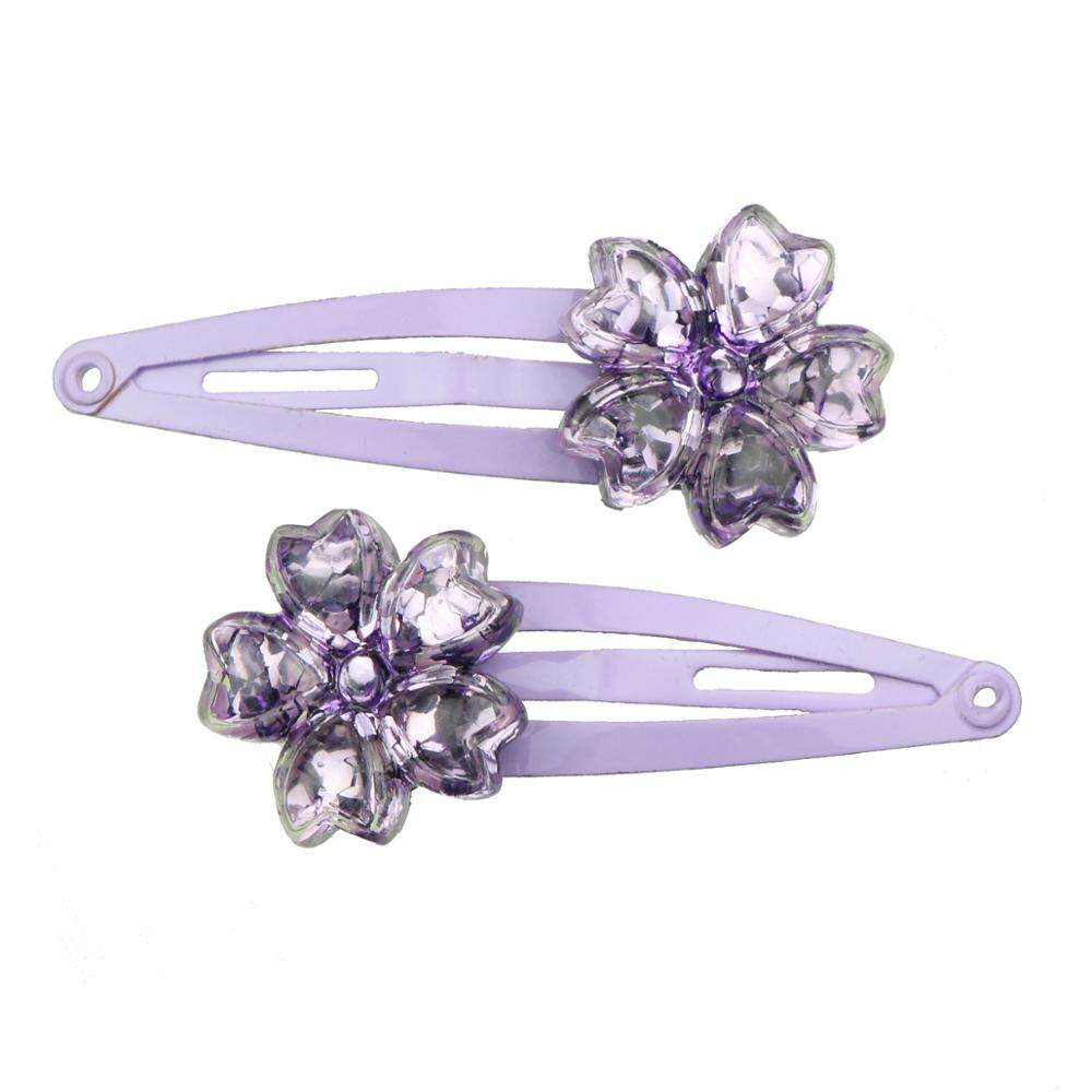 poly resin crystal purple flower decorative hair clip flower mini hair clip 7699
