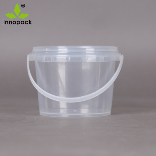 350ml clear food grade ice cream bucket honey pail with lid