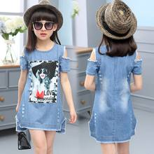 Children Dresses For Girls Denim Dress Summer Strapless Dress Pattern Girls Clothing Short Sleeve Child Clothes