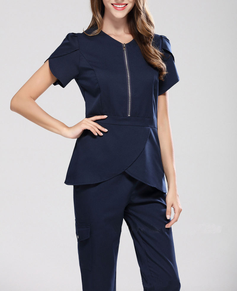 2018 design krankenhaus uniform schönheitssalon spa medizinische schönheit peelings eingestellt frauen slim fit zahnklinik medical scrub uniformen
