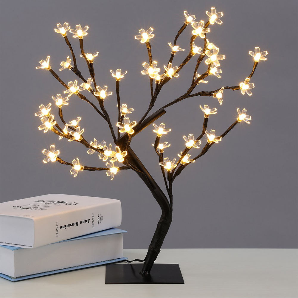 New 48 leds Cherry Blossom Desk Top Bonsai Tree Light weiß 0.45M Black Branches Festival Home Party Wedding Indoor Decoration