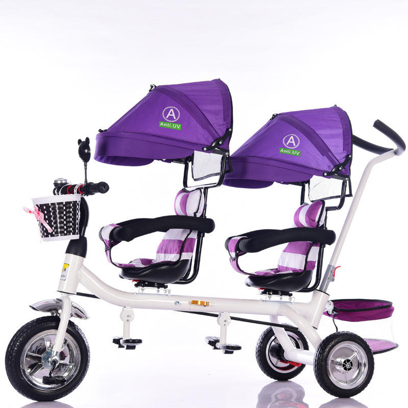 Most popular kids double seat tricycle/children tricycle two seat/ twins baby cycles
