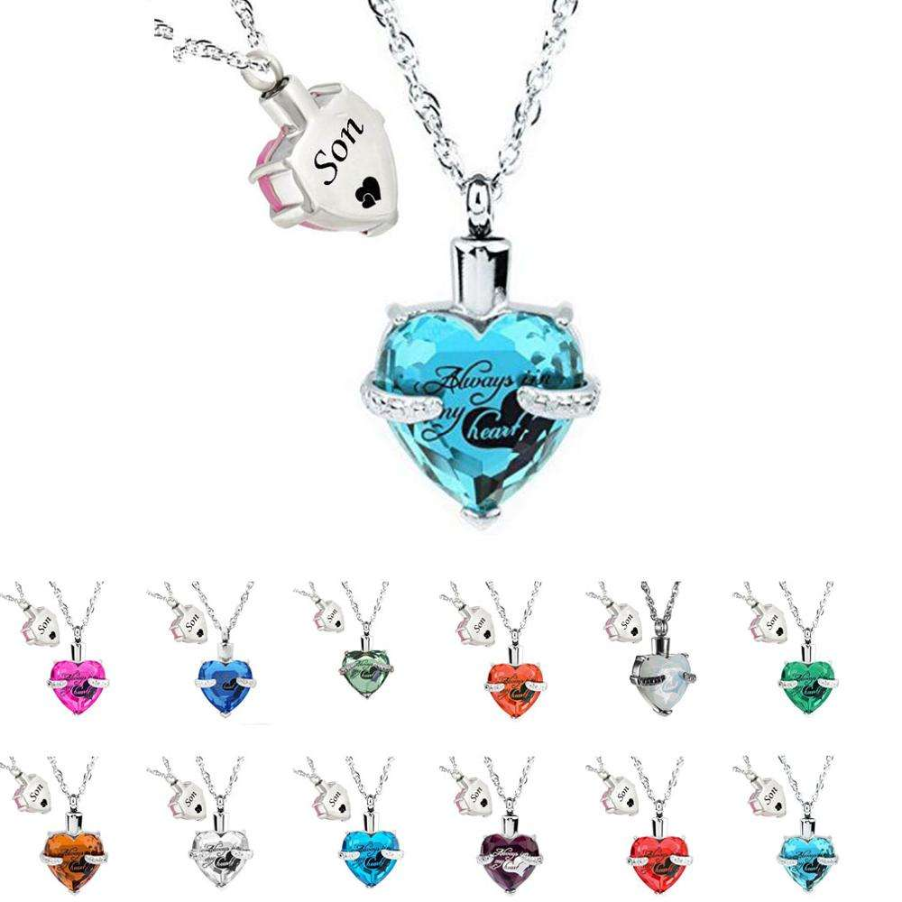 Son Glass Cremation Jewelry Always in My Heart Birthstone Pendant Urn Necklace Ashes Holder Keepsake