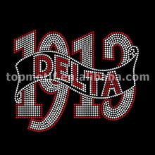Custom Bling Greek Letters Delta 1913 Rhinestone Iron on Transfers