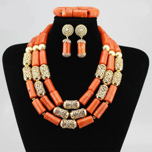 Queency Africaine Collier Ensemble Bijoux Corail Rouge Tube Perle Ensemble De Bijoux