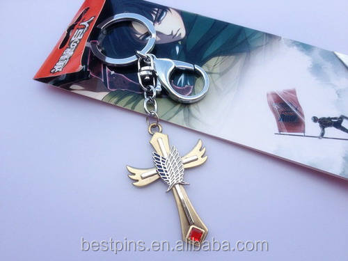 Anime key chains Attack on Titan cross keychains