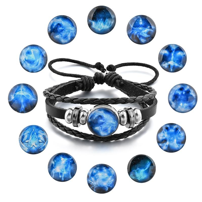 Mens Leather Bracelet 12 Constellate Charm Snap Braided Wrap Jewelry