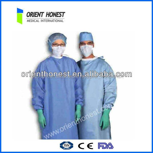 örme manşet ile tek kullanımlık cerrahi doktor ve hemşire elbisesi