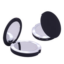 private label design double sides led pocket cosmetic mirror