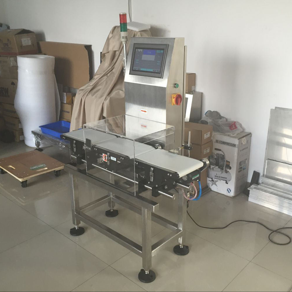 Checkweigher conveyor weight gain injection wheel balance checker machine bottles small sachet package