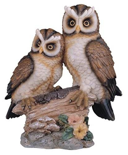 wholesale polyresin bird figurines Tan And Brown Owls Perched On Tree Log Figurine