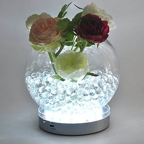 DIY Wedding Centerpiece Table Decorations 3AA Battery Operated 15CM Diameter Round White LED Under Vase Base Light
