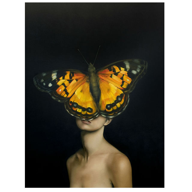 China wholesale home decor abstract oil painting on canvas artwork for modern woman and butterfly
