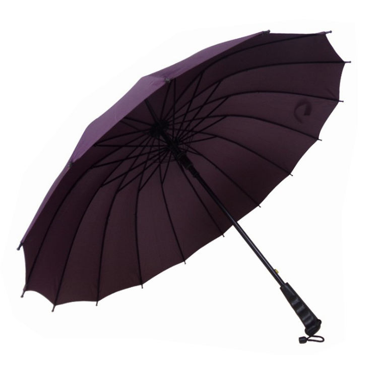 Promotional Auto Open 16 Ribs Straight Wooden Handle Umbrella With Custom Logo Printing