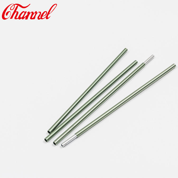 Aluminum tent pole tube with end cap