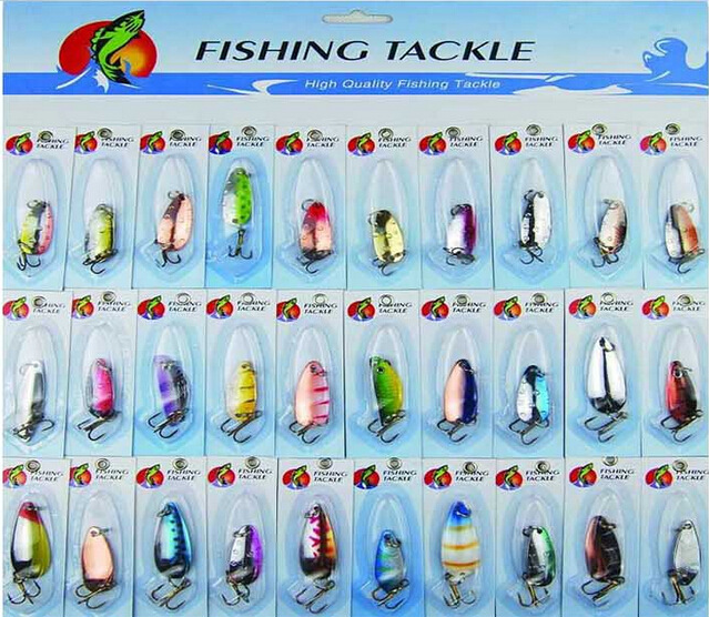 WEIHE Wholesale low price 30 pieces metal spoon sequin fishing lure set kit peche