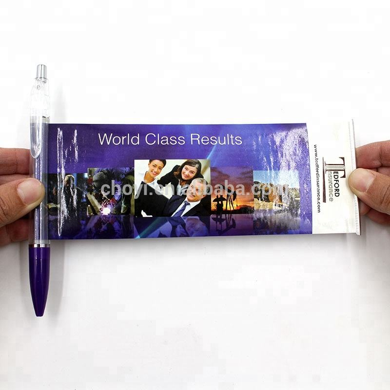 Promotional Info Pen Retractable Pull Out Banner Pen Paper Roll Pen