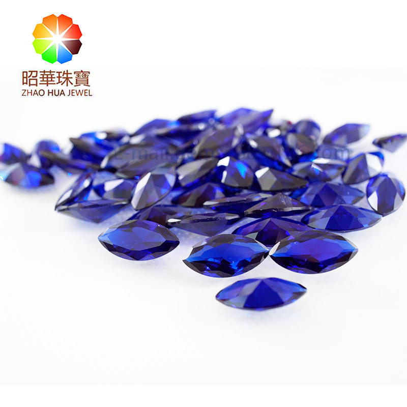 Marquise cut loose gemstone synthetic Burma blue spinel gems