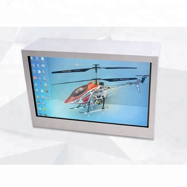 3D advertising transparent LCD display box 21.5 inch infrared touch screen